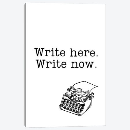 Write Here, Write Now With Vintage Typewriter Canvas Print #DHV79} by Design Harvest Art Print