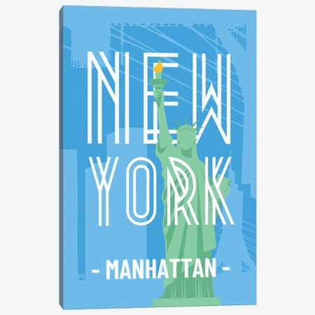 New York And Manhattan With Interlaced Statue Of Liberty Canvas Print #DHV7} by Design Harvest Canvas Art