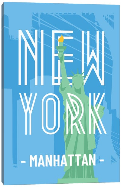 New York And Manhattan With Interlaced Statue Of Liberty Canvas Art Print