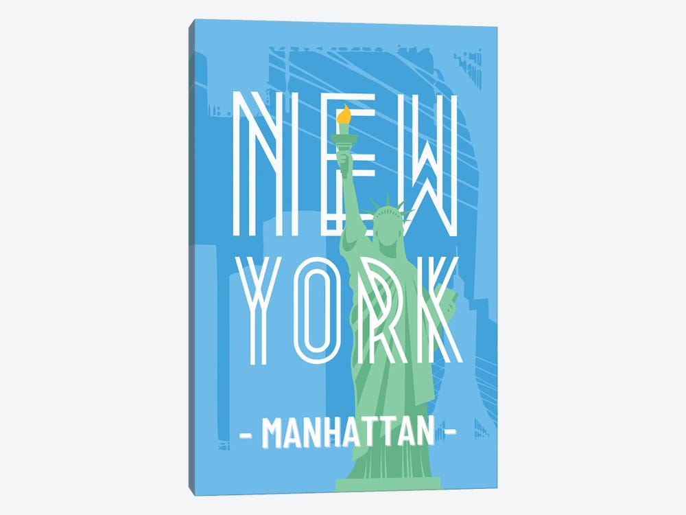 New York And Manhattan With Interlaced Statue Of Liberty by Design Harvest 1-piece Art Print