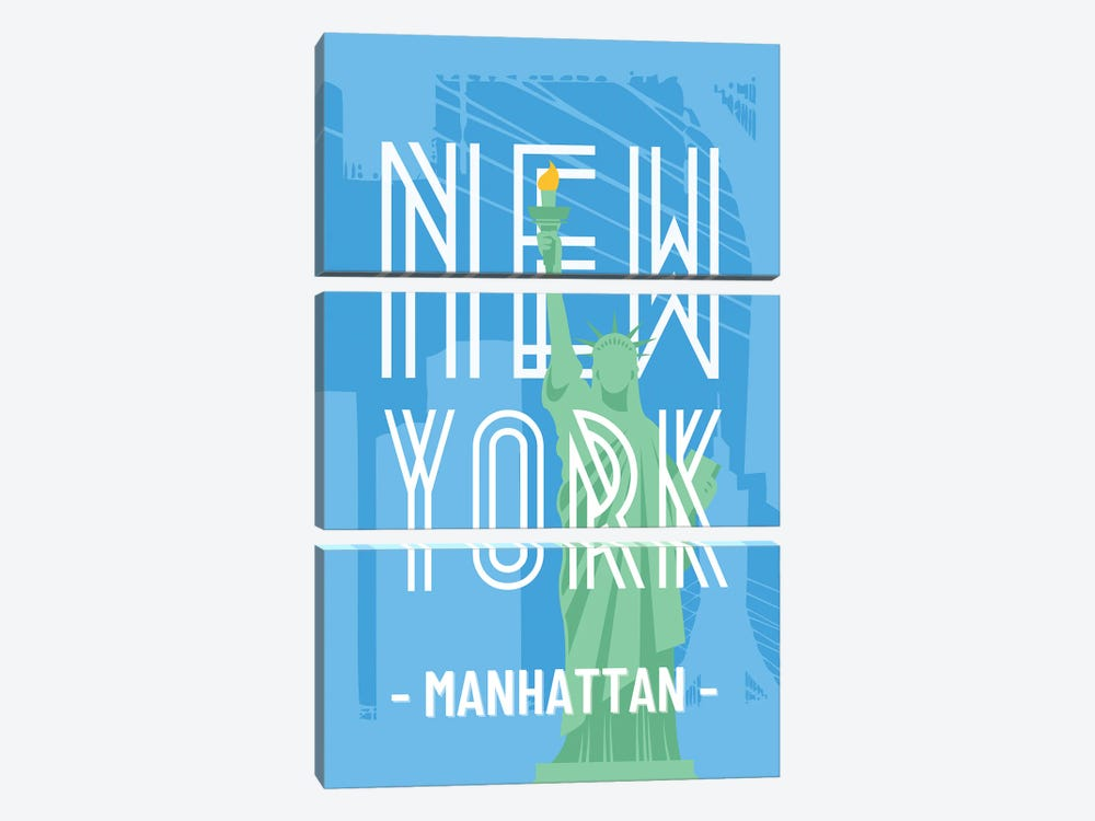 New York And Manhattan With Interlaced Statue Of Liberty by Design Harvest 3-piece Canvas Art Print