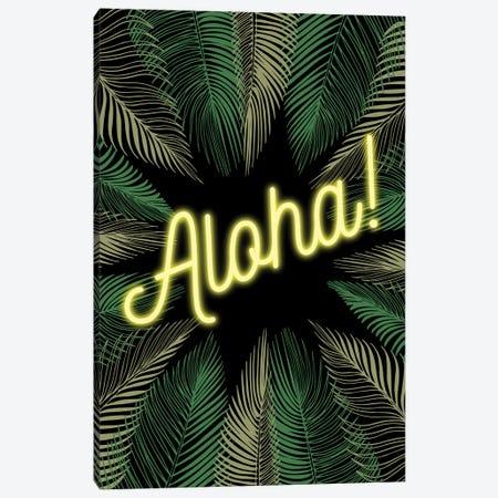 Neon Aloha! Hawaiian Design With Palm Trees Canvas Print #DHV80} by Design Harvest Canvas Art