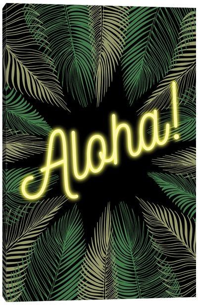 Neon Aloha! Hawaiian Design With Palm Trees Canvas Art Print