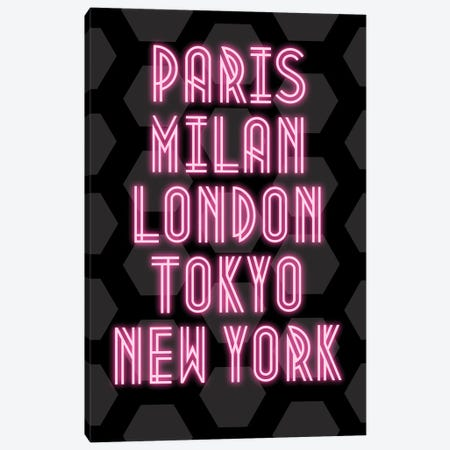 Neon Fashion Capital Cities Paris, Milan, London, Tokyo And New York Canvas Print #DHV81} by Design Harvest Canvas Art