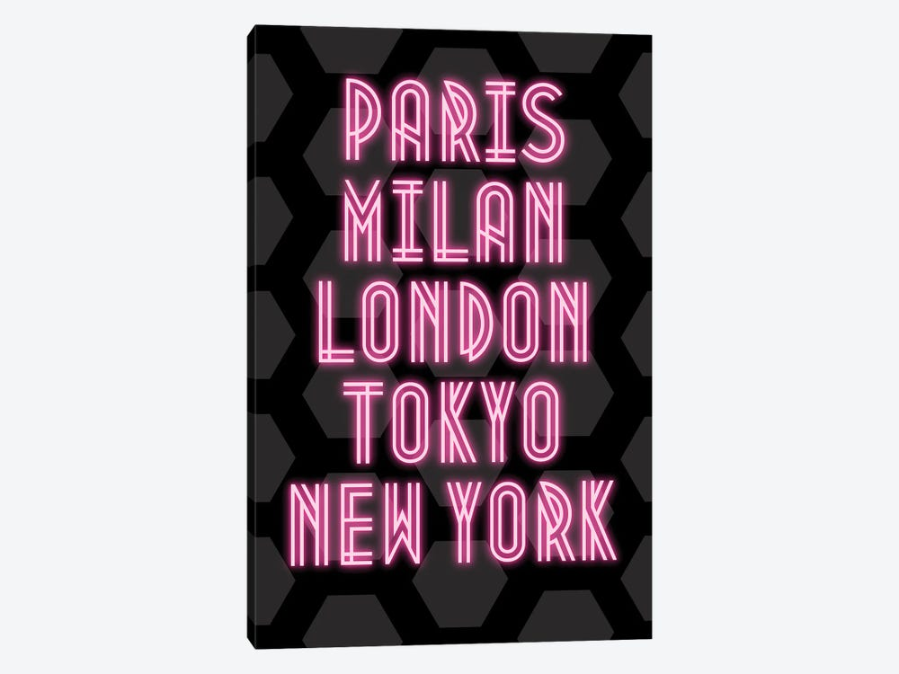Neon Fashion Capital Cities Paris, Milan, London, Tokyo And New York by Design Harvest 1-piece Canvas Wall Art