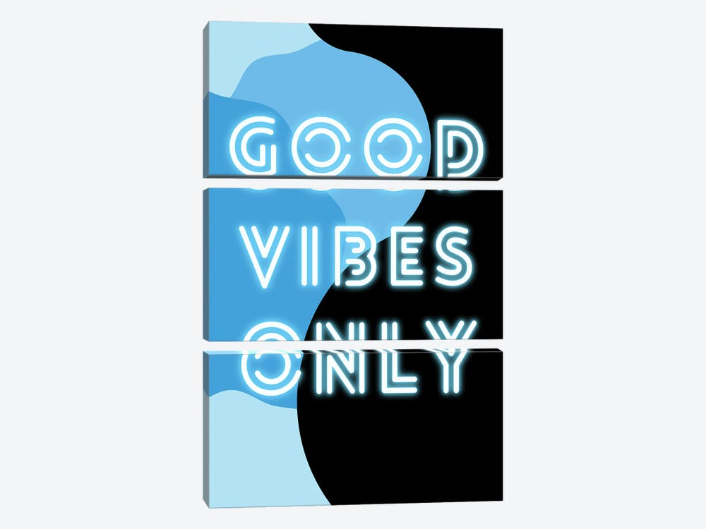 Neon Good Vibes Only In Retro Blue by Design Harvest 3-piece Art Print