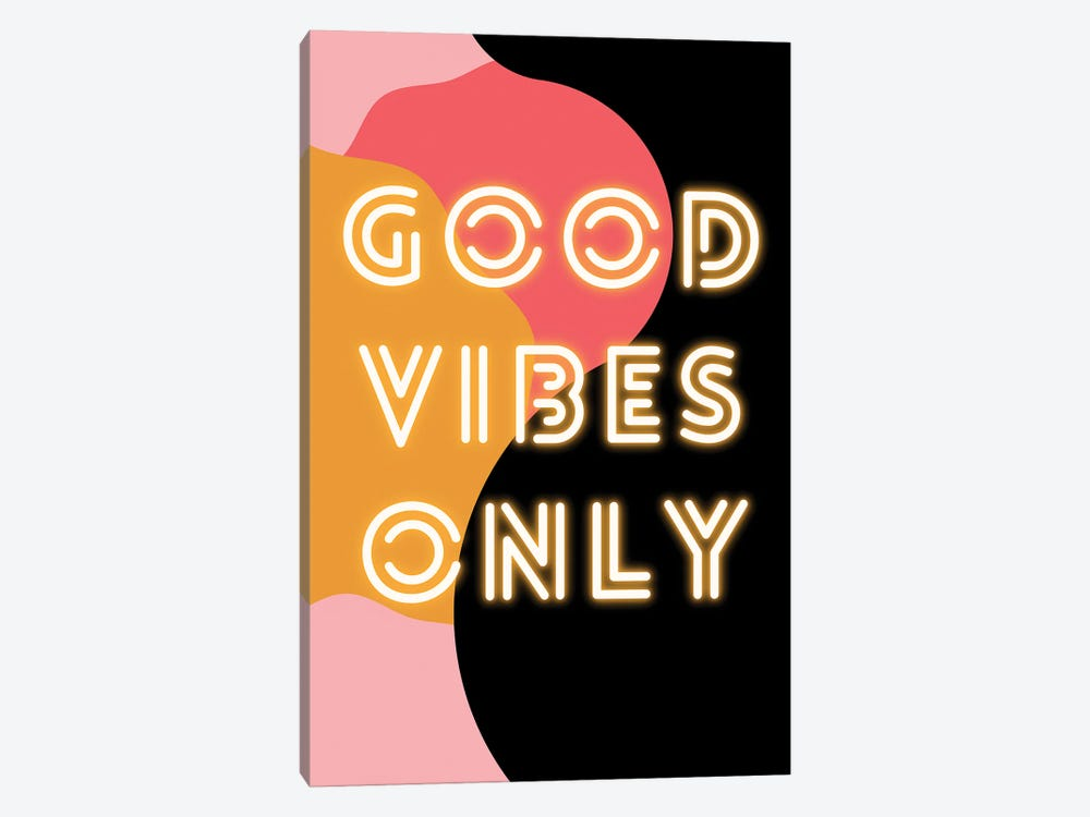 Neon Good Vibes Only In Retro Pink by Design Harvest 1-piece Canvas Art