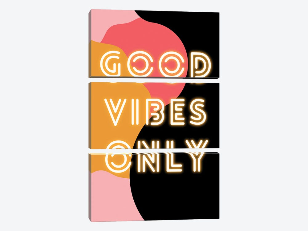 Neon Good Vibes Only In Retro Pink by Design Harvest 3-piece Canvas Artwork