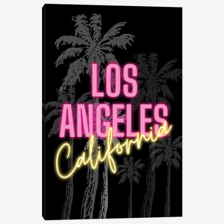 Neon Los Angeles California Design On Palm Tree Background Canvas Print #DHV84} by Design Harvest Art Print