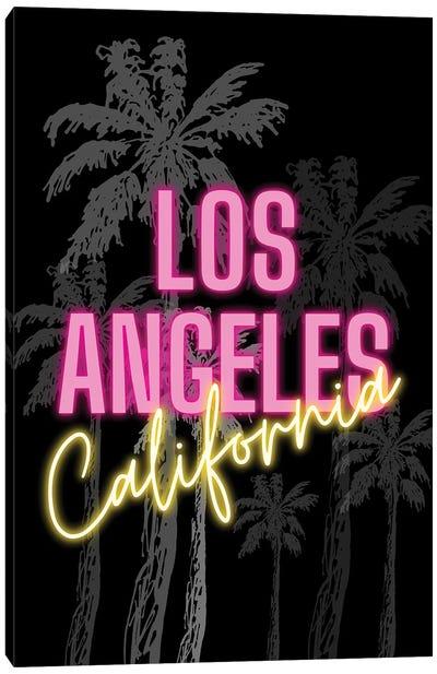 Neon Los Angeles California Design On Palm Tree Background Canvas Art Print