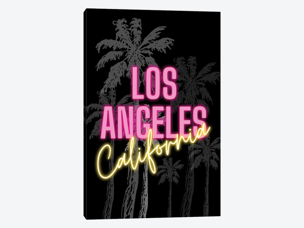 Neon Los Angeles California Design On Palm Tree Background by Design Harvest 1-piece Canvas Print