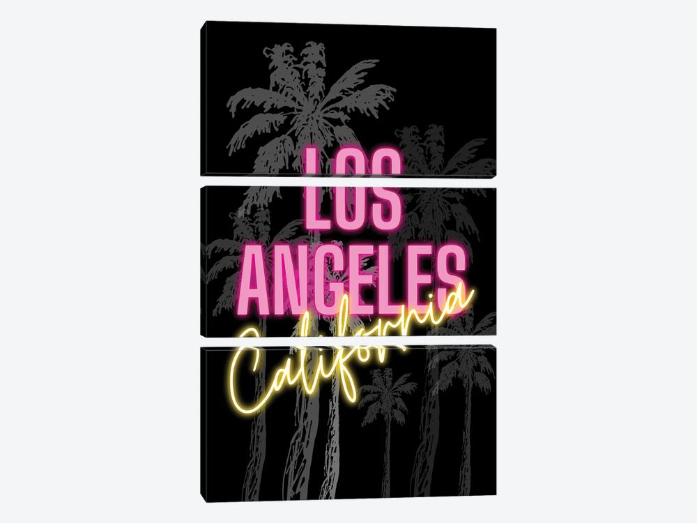 Neon Los Angeles California Design On Palm Tree Background by Design Harvest 3-piece Art Print