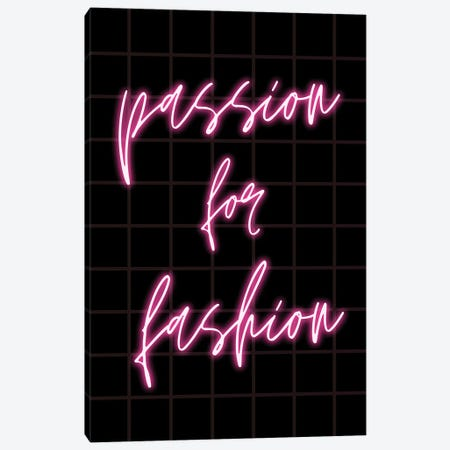 Neon Passion For Fashion Design On Grid Background Canvas Print #DHV85} by Design Harvest Canvas Art Print
