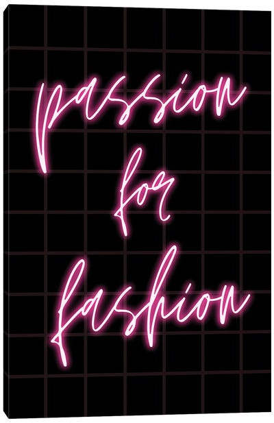 Neon Passion For Fashion Design On Grid Background Canvas Art Print