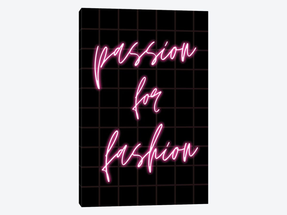 Neon Passion For Fashion Design On Grid Background by Design Harvest 1-piece Canvas Art
