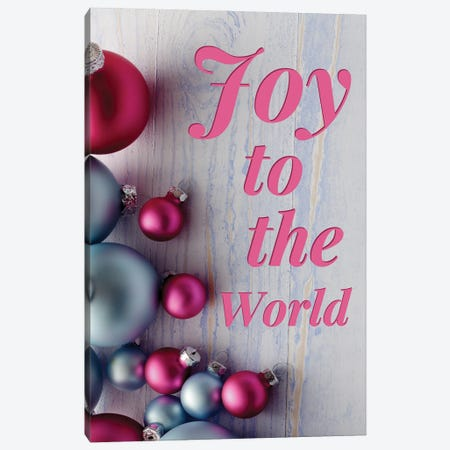 Modern Christmas In Pink - Joy To The World Canvas Print #DHV86} by Design Harvest Canvas Print
