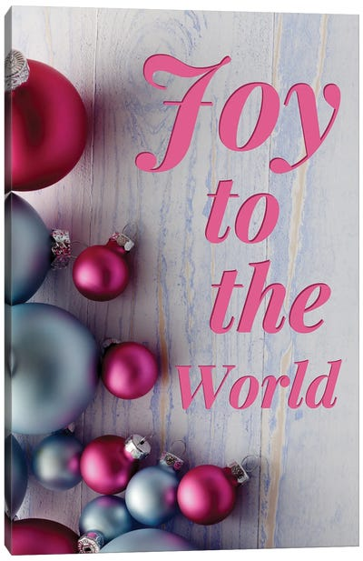 Modern Christmas In Pink - Joy To The World Canvas Art Print