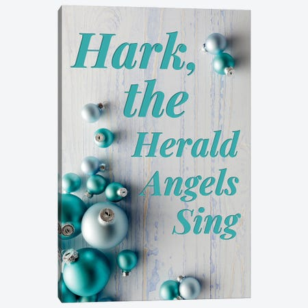 Modern Christmas In Blue - Hark The Herald Angels Canvas Print #DHV87} by Design Harvest Art Print