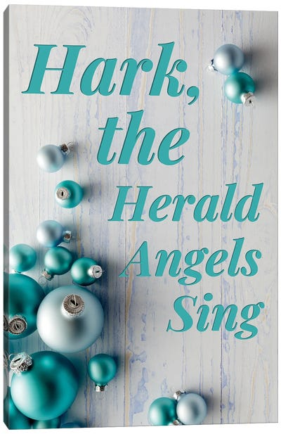 Modern Christmas In Blue - Hark The Herald Angels Canvas Art Print