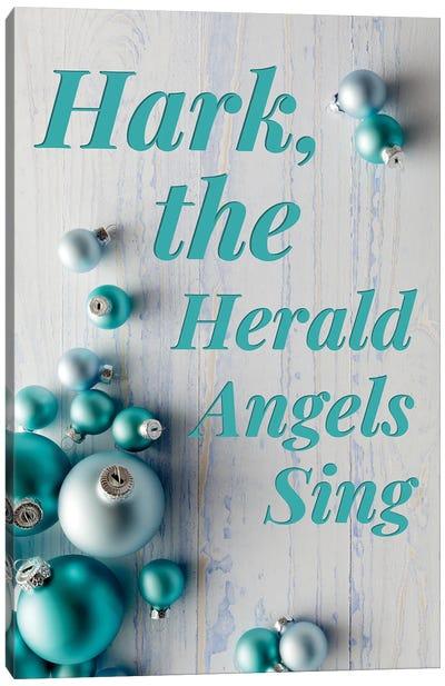 Modern Christmas In Blue - Hark The Herald Angels Canvas Art Print