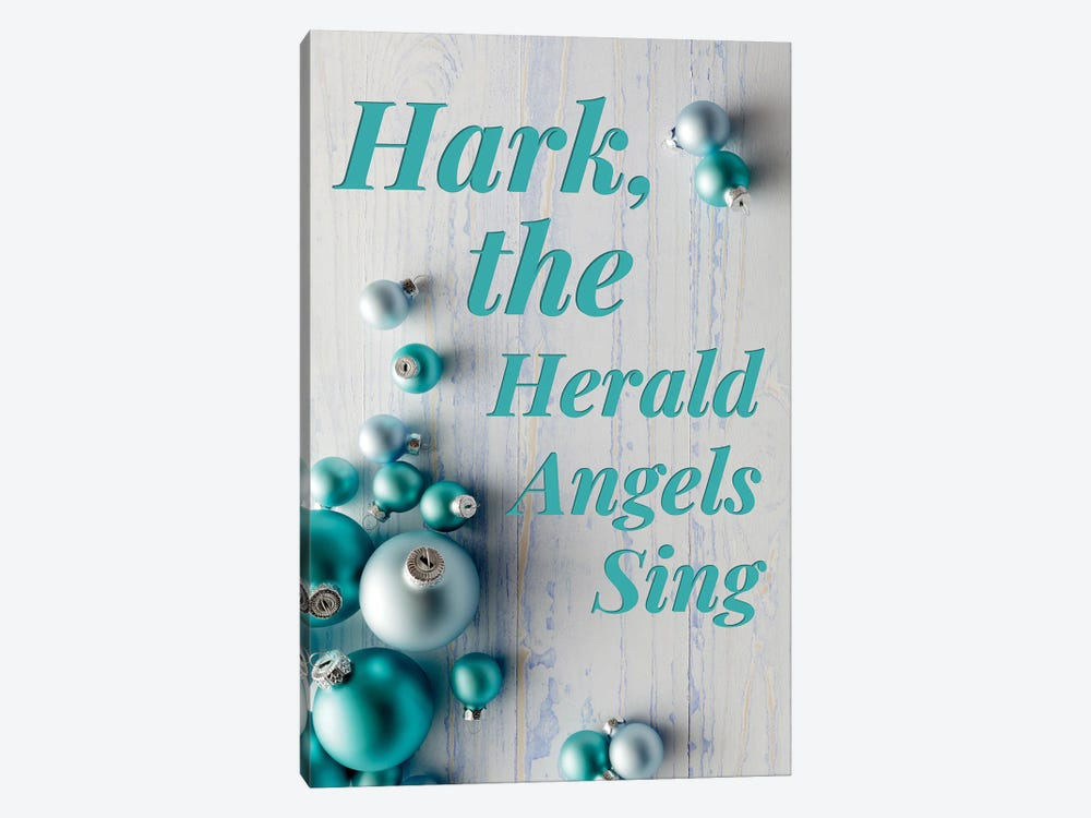 Modern Christmas In Blue - Hark The Herald Angels by Design Harvest 1-piece Canvas Art