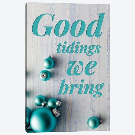 Modern Christmas In Blue - Good Tidings Canvas Print #DHV88} by Design Harvest Canvas Artwork