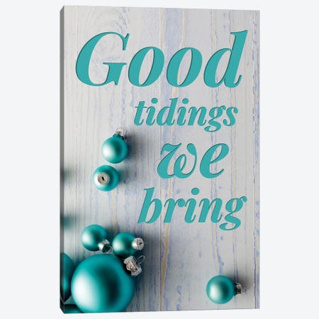 Modern Christmas In Blue - Good Tidings Canvas Print #DHV88} by Design Harvest Canvas Artwork
