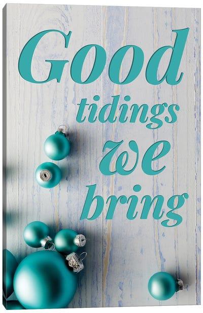 Modern Christmas In Blue - Good Tidings Canvas Art Print