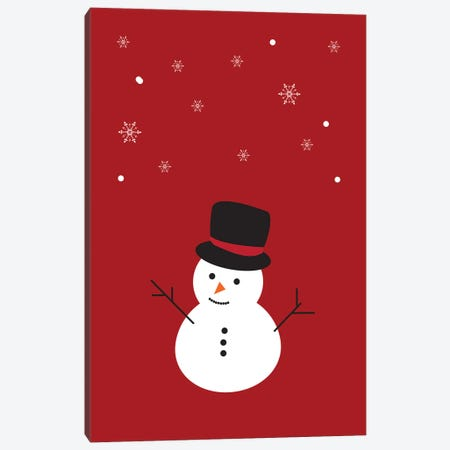 Red Christmas Snowman And Snowflakes Canvas Print #DHV89} by Design Harvest Canvas Artwork
