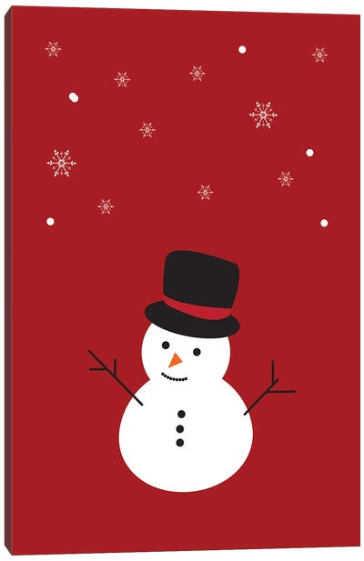 Red Christmas Snowman And Snowflakes Canvas Art Print