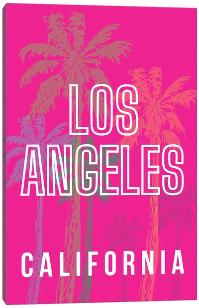 Los Angeles California With Palm Trees Canvas Art Print