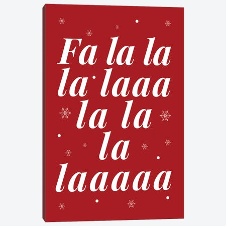 Red Christmas Fa La La And Snowflakes Canvas Print #DHV90} by Design Harvest Canvas Art Print