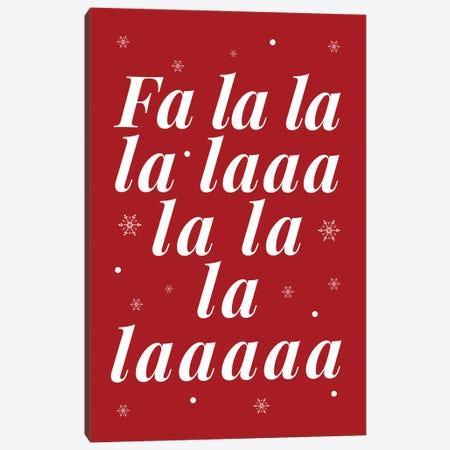 Red Christmas Fa La La And Snowflakes Canvas Print #DHV90} by Design Harvest Canvas Art Print