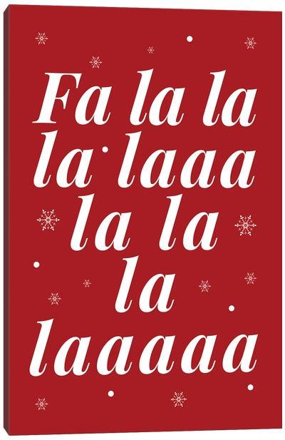 Red Christmas Fa La La And Snowflakes Canvas Art Print