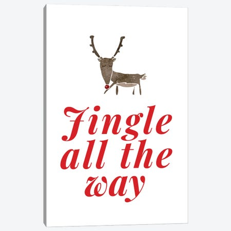Red Christmas - Jingle All The Way With Reindeer Canvas Print #DHV93} by Design Harvest Canvas Art Print
