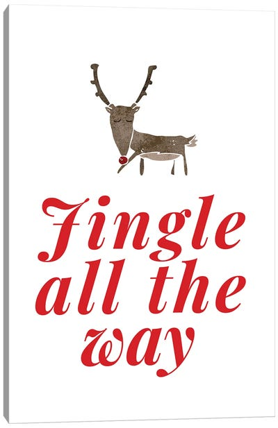 Red Christmas - Jingle All The Way With Reindeer Canvas Art Print