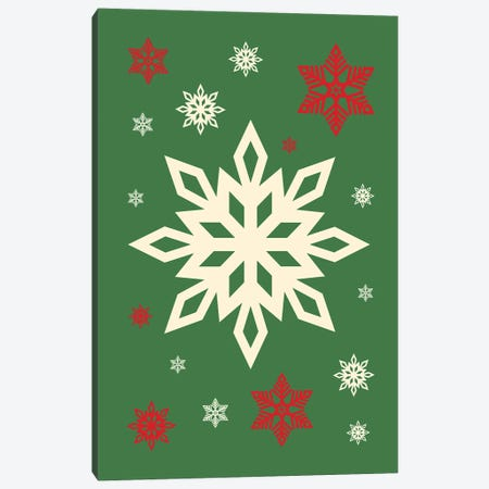 Natural Christmas With Snowflakes On Green Background Canvas Print #DHV94} by Design Harvest Canvas Artwork
