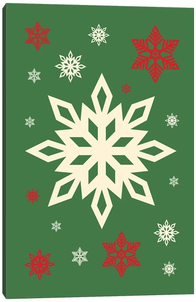 Natural Christmas With Snowflakes On Green Background Canvas Art Print