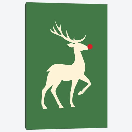 Natural Christmas - Rudolph The Red Nosed Reindeer On Green Background Canvas Print #DHV96} by Design Harvest Canvas Wall Art