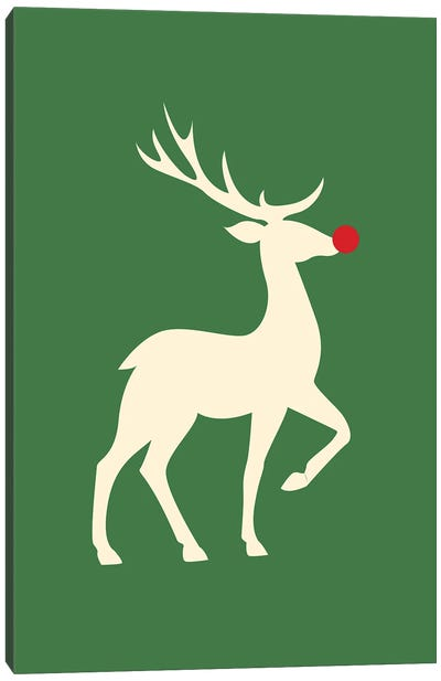 Natural Christmas - Rudolph The Red Nosed Reindeer On Green Background Canvas Art Print