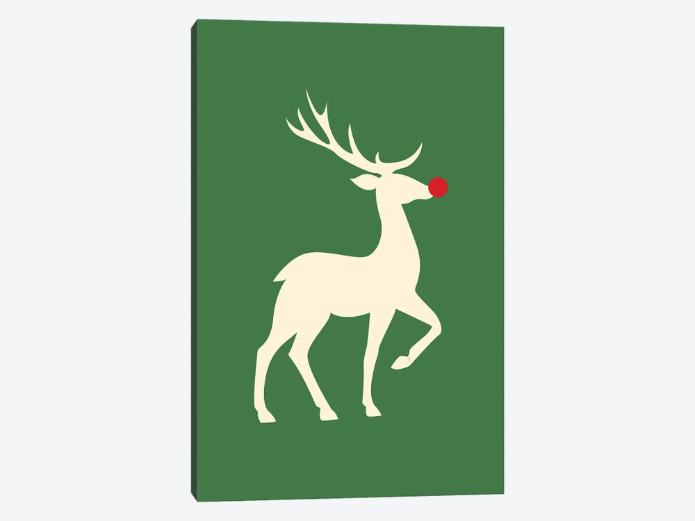 Natural Christmas - Rudolph The Red Nosed Reindeer On Green Background by Design Harvest 1-piece Canvas Artwork