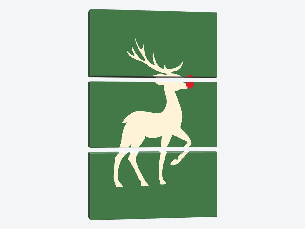Natural Christmas - Rudolph The Red Nosed Reindeer On Green Background by Design Harvest 3-piece Canvas Art