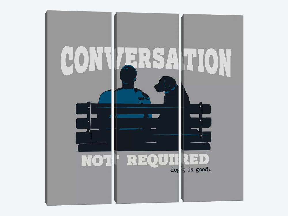 Conversation Not Required Bench by Dog is Good and Cat is Good 3-piece Art Print