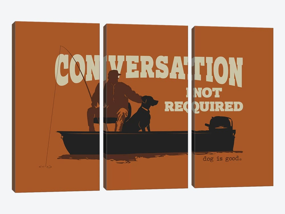 Conversation Not Required Boat by Dog is Good and Cat is Good 3-piece Canvas Artwork