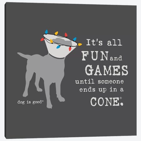 Fun and Games Holiday Canvas Print #DIG112} by Dog is Good and Cat is Good Canvas Print
