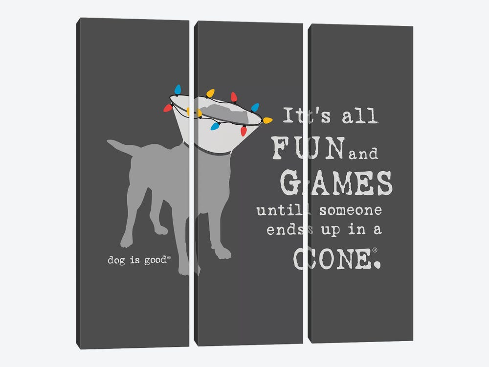 Fun and Games Holiday by Dog is Good and Cat is Good 3-piece Canvas Art