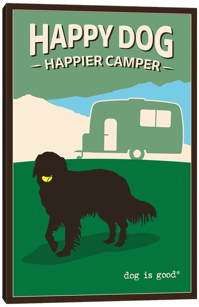 Happy Dog Happier Camper Canvas Art Print