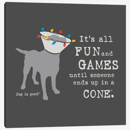 Fun And Games Holiday Canvas Print #DIG123} by Dog is Good and Cat is Good Canvas Art