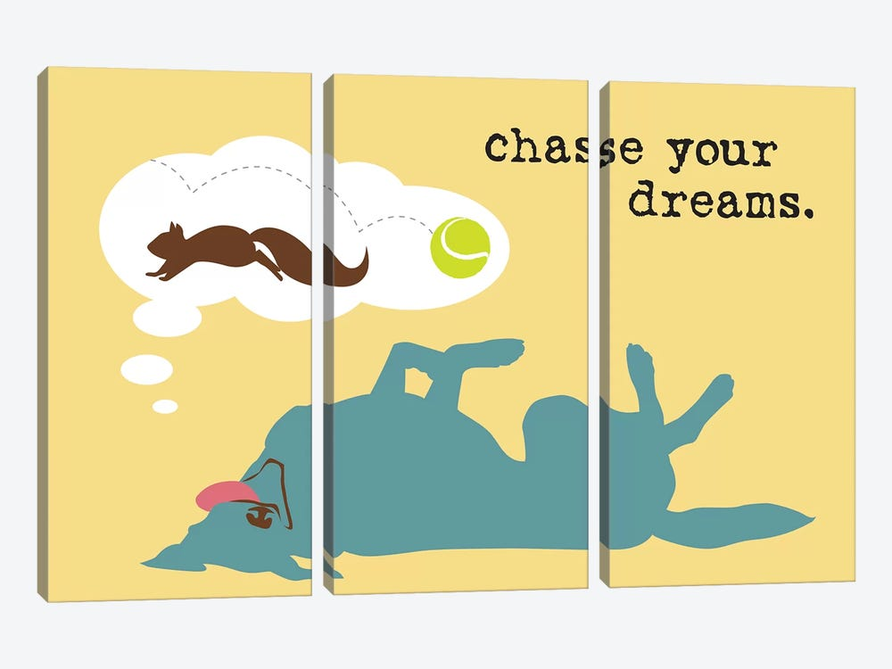 Chase Dreams by Dog is Good and Cat is Good 3-piece Canvas Art