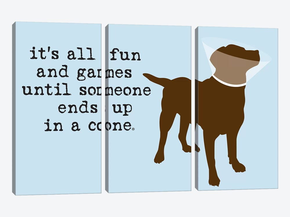 Fun And Games by Dog is Good and Cat is Good 3-piece Canvas Art Print